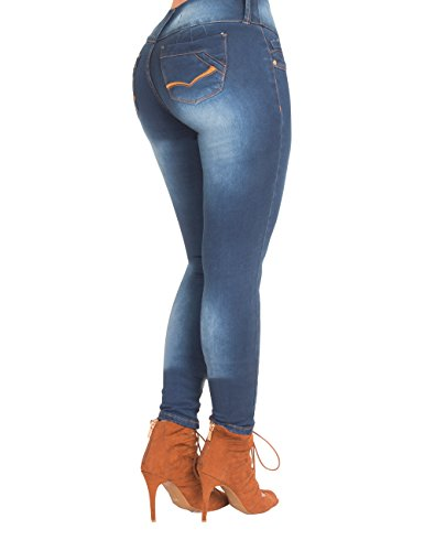 Apple Bottoms Denim Jeans (Curvify High Waisted Butt Lifting Stretch Jeans | Slimming Lift Skinny Jeans 837 (Chic Blue-12))