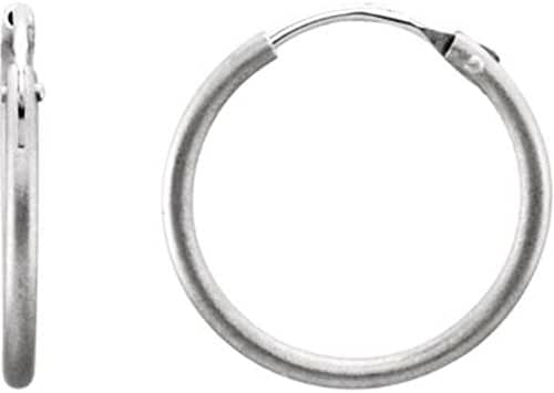 Plain Hoop Earring with Satin Finish in Platinum