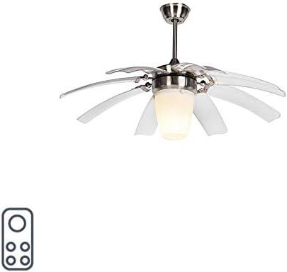 QAZQA Moderno Ventilador de techo con luz y mando a distancia plateado con control remoto - Alas 42 acero Vidrio/Plástico/Acero Redonda Adecuado para LED Max. 1 x 20 Watt