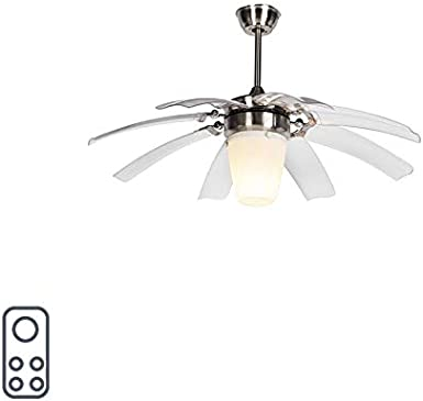 QAZQA Moderne Ventilateur de plafond argenté avec télécommande Wings 42 acier verrePlastiqueAcier Transparent,Blanc,Acier Rond E27 Max. 1 x 20