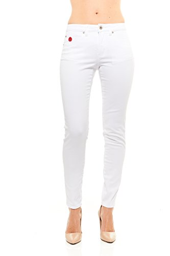 Red Jeans Women's Casual High Rise Stretchy Denim Pants,White-164,8