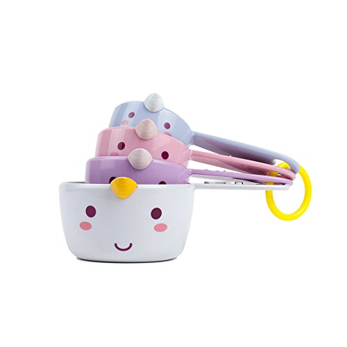 Smoko Elodie Unicorn Measuring Cups, Set of 4 Pastel Novelty Collectible Kitchen Baking Utensils