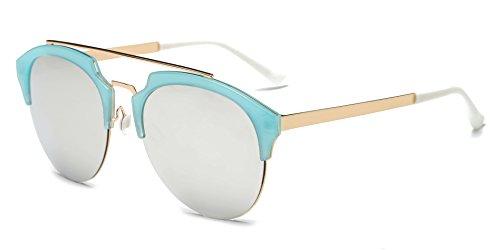 Cramilo CA15K Half Frame Mirrored Lens Horned Rim Sunglasses (Gold / Light Gray with Light Blue Rims, - Look New Sunglasses Rose Gold