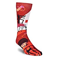 K. Bell Socks Men's Wolf Concert Crew, Red, Shoesize 6 to 12