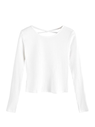 SweatyRocks Women's Crewneck Knit Ribbed Crop Tops Basic Long Sleeve Sweater White M