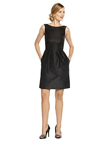 Amelia Cocktail Length Dress with Bateau Neckline by Alfred Sung from Dessy - Black - Size 12