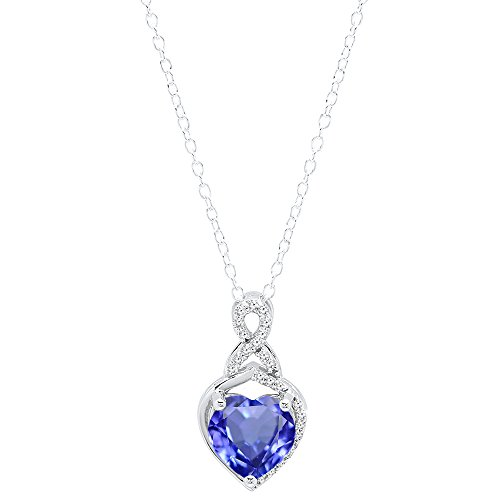 (Dazzlingrock Collection 10K 8 MM Heart Shaped Tanzanite & Round White Diamond Ladies Heart Pendant, White Gold )