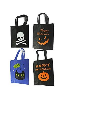 Reusable Halloween Trick or Treat Bags Candy Goody Totes Bundle of 4 Pumpkins Black Cat Skeleton -