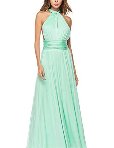 FeelinGirl Mujer Vestido de Noche Longitud Máxima Falda Fiesta Cóctel Tirantes Convertibles Multi-Manera Verde Menta