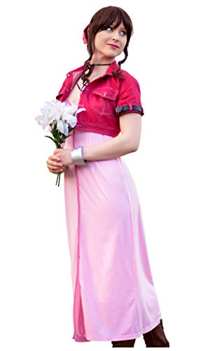DAZCOS US Size Adult Women's VII Aerith Gainsborough 1st Cosplay Costume (Women S) Red,Pink