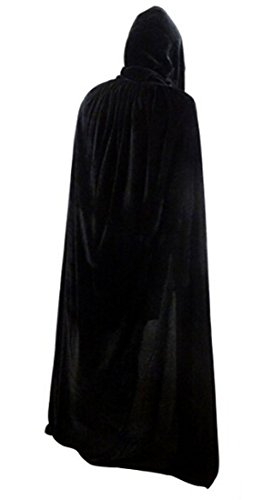 [Unisex Adult Women Men Velvet Long Hooded Cloak Tippet Cape Halloween Christmas Theater Party Role Cosplay Costume Wedding Shawl Coat Decoration,] (Halloween Costume Wearing Overalls)