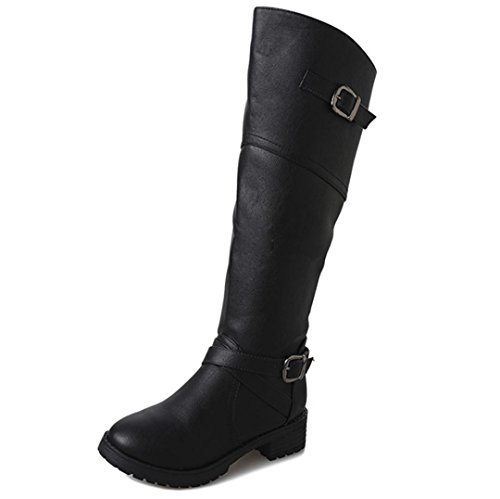 Boots Flat Leather Martin Women Knight Shoes Buckle Ladies VEMOW Black New Faux 8CqBFWO0