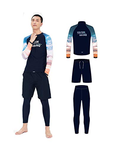VECTOR 3PCS Men's Wetsuit Long Sleeve Sunscreen Leisure Sports Ride Training Seaside Snorkeling Swimming Windproof Surf Quick Dry Diving Suit