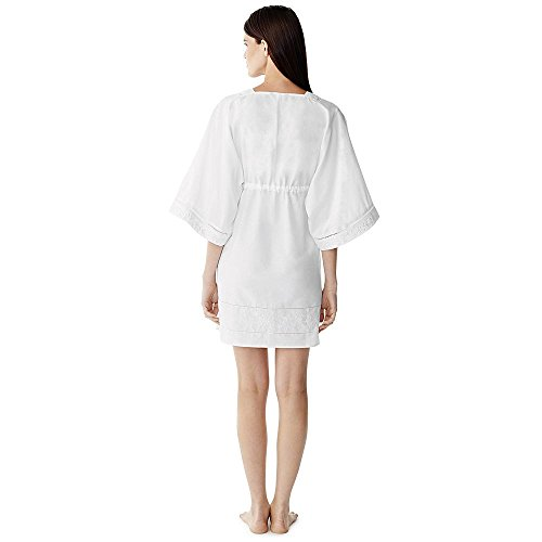Canvas by Lands' End Women's Cotton Silk Mid Length Caftan Cover-Up Dress, XS, White