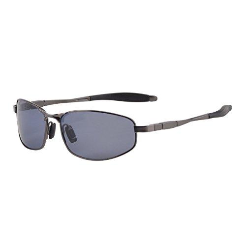 ZHILE Wrap Polarized Sunglasses Al-Mg Metal Temple Spring Hinged UV400 Protection (Grey, Black grey)