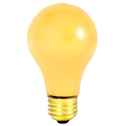 - 24 Pack 60 Watt Medium Base A19 Yellow Bug Light 130 Volt 2500 Hour Incandescent Lightbulb