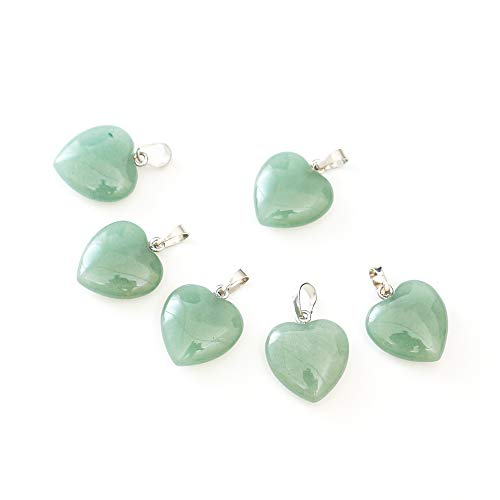 16pcs Natural Green Aventurine Gemstone Heart Pendant Healing Crystals Chakra Gem Stones Rock Crystal Quartz for Jewelry Craft Making G2P17-4 ()