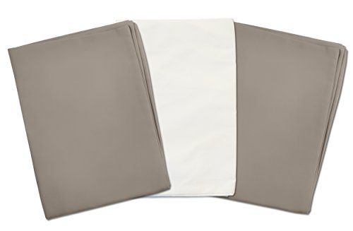 3 Toddler Pillowcases - 2 Gray and 1 White - Envelope Style - For Pillows Sized 13x18 and 14x19 - 100% Cotton With Percale Weave - Machine Washable - ZadisonJaxx Basics Collection - 3 Pack by Zadisonjaxx