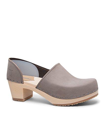Sandgrens Swedish High Heel Wooden Clogs for Women | Brett Gray, EU 42