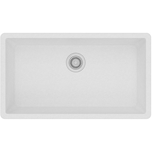 Elkay Quartz Classic ELGRU13322WH0 White Single Bowl Undermount Sink (White Undermount Kitchen Sink 30)