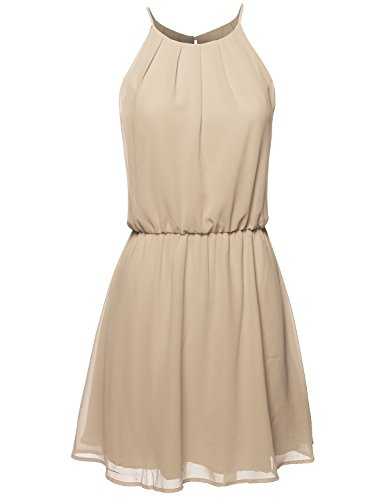 Awesome21 High Neck Pleated Dress w/Waistband Taupe Size L -