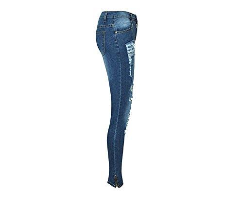 Jeans skinny Jeans donna Jeans da donna skinny Blu Jeans con da FuweiEncore Pantaloni cerniera f1Xx4nWWS
