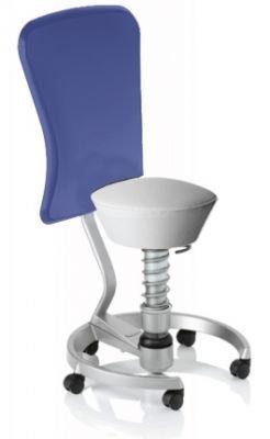 Aeris Swopper Classic - Bezug: Care / Weiß | Polsterung: Standard | Fußring: Titan | Universalrollen für alle Böden | mit Lehne und blauem Microfaser-Lehnenbezug | Körpergewicht: MEDIUM