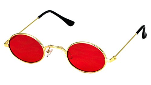 Steampunk Vintage Slender Small Oval Sunglasses Metal Frame Chic Clear Candy Color Lens Glasses (Gold - Sunglasses Candy John