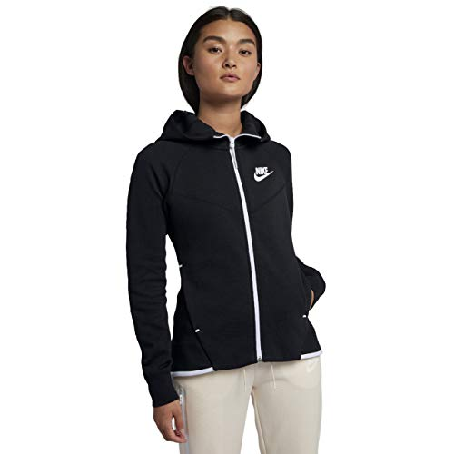 (Nike Womens Tech Fleece Full Zip Hoodie Black/White 930759-011-Size Medium)