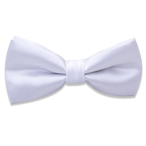 Kids Boys Silk Bow Ties - Adjustable Bowtie for Baby Toddler Gifts(White)