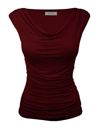 CLEMONCE Women Plain Plus Size Cowl Neck Cap Sleeve Style Top Burgundy - Neck Cap Sleeve Cowl