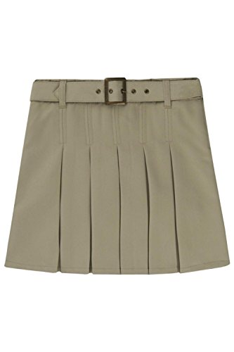 UPC 884503897141, French Toast Big Girls' Pleated Scooter with Square Buckle Belt, Khaki, 18