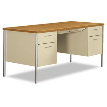 HON 34000 Series Double Pedestal Desk, 60w x 30d x 29-1/2h, Harvest/Putty