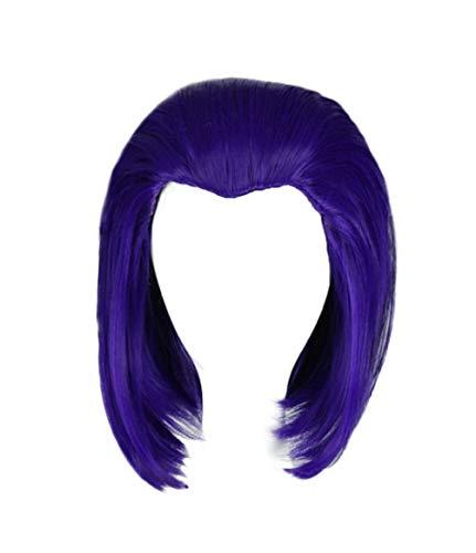 New Teen Titans Raven Wig Cosplay Short Blue Silk Artificial Short Hair 25cm Halloween Accessory Props ()