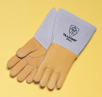 Tillman Small 14'' Gold Top Grain Elkskin Cotton/Foam Lined Super Premium Grade Stick Welders Gloves With Reinforced Straight Thumb, Stiff Cowhide Cuff, Welted Finger, Kevlar® Lock Stitching And Pull Tab (Carded)