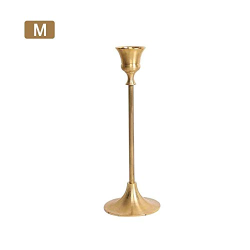 Depruies Retro Elegant Brass Candlestick Decoration Brass Chamber Stick Candle Holder Traditional Shape for Window and Mantle Display Home - Chamber Candle