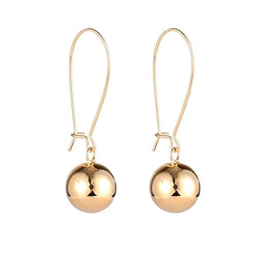 ManxiVoo Clearance Women's Round Beaded Ball Dangling Drop Earrings Jewelry Hoop Earring (Gold)