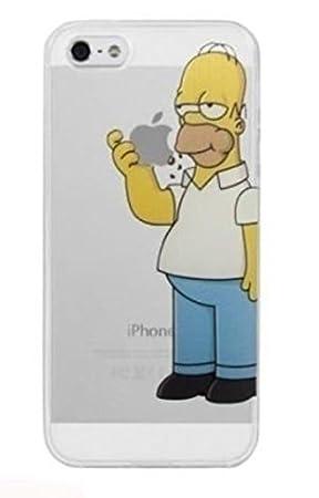 Designer - Carcasa para iPhone 5 y 5s, diseño de Los Simpsons, Motivo de Homer Simpson Comiendo una Manzana