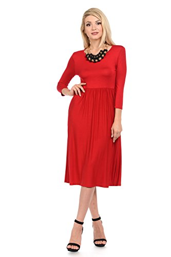 (iconic luxe Women's Solid Fit and Flare Midi Dress with Pockets Large Red)