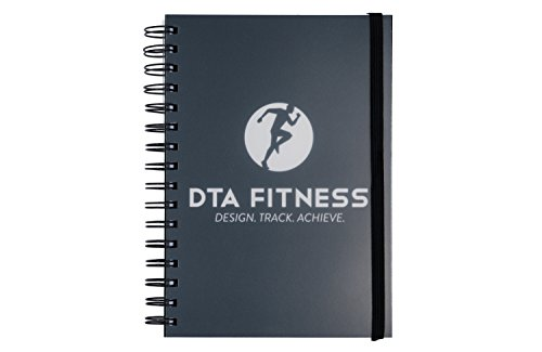 DTA Fitness Journal - Training log, food diary, goal design & review - 12 weeks, A5 size, spiral bound - Weights & cardio log, macro & calorie tracker, shopping list - Color printed by DTA Fitness