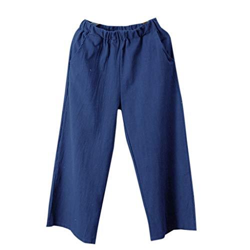 (UOFOCO Trendy Wide Leg Cotton Linen Pants Women Loose Pants Casual Pocket Trouser Blue)