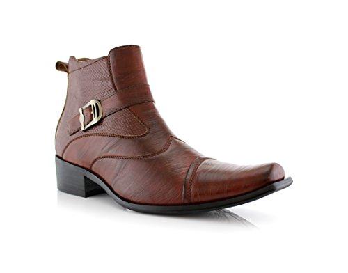 Delli Aldo Men's Ankle High Dress Boots | Buckle Strap | Shoes | Brown 7.5