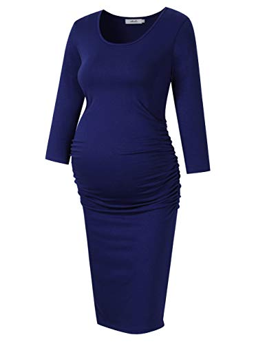 Sleeve Maternity Dress Ruched (Coolmee MissQee Ruched Maternity Dress Round Neck Maternity Dress 3/4 Sleeve Maternity Dresses XL Navy#Long)