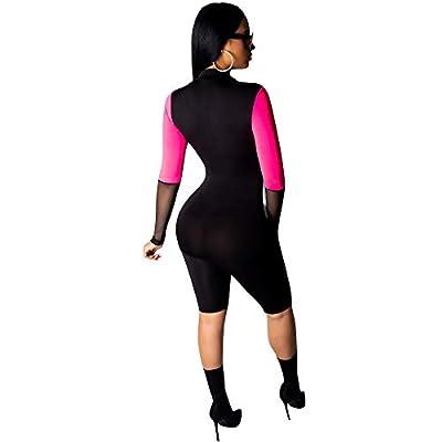 LuoLN Women Athletic Mesh Jumpsuit Sexy Zip Front Stripe Plus Size Splice Bodycon Club Romper