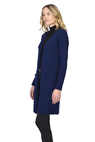 State Cashmere Women's 100% Pure Cashmere Open Front Long Cardigan, Navy, Large by State Cashmere (Image #2)