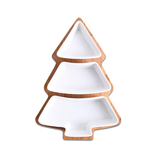 Full Set Ceramic Bamboo Christmas Tree Tray Snack Plate Fruit Bowl Dish Tableware Breakfast Kitchen Home Supply White