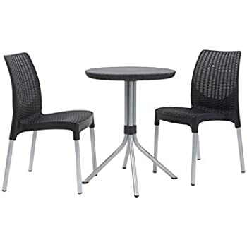 Keter Chelsea 3 Piece Resin Outdoor Patio Furniture Dining Bistro Set With  Patio Table And Chairs, Charcoal