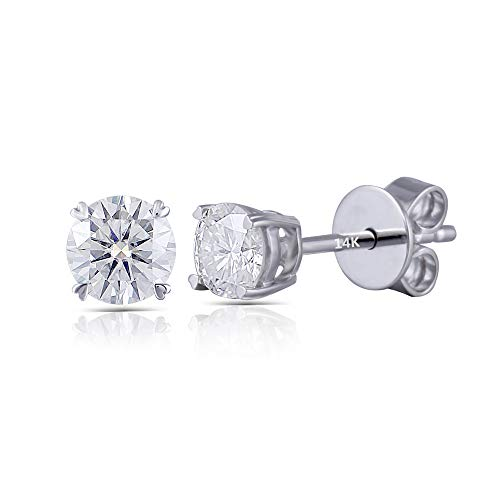 DovEggs Solid 14K White Gold 0.5ct 4mm GH Color Clear Heart Arrows Cut Moissanite Stud Earring Push Back for Women ()