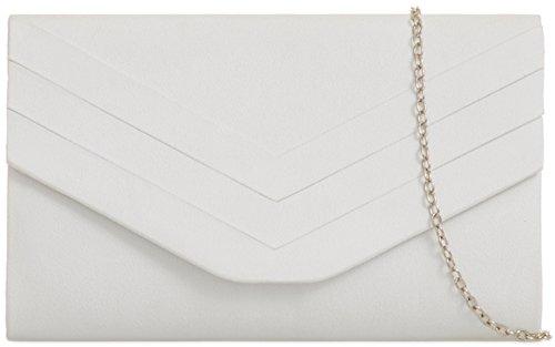 H&G Plain Faux Suede Envelope Clutch Bag - Nude White