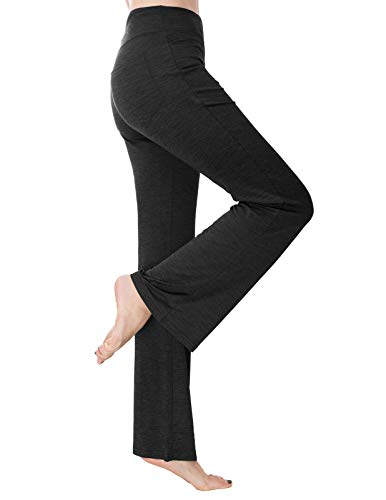Cotton Trousers Bootcut (Zexxxy Women's Long Comfy Trousers Loose Straight Leg for Yoga Running Sporting Black)